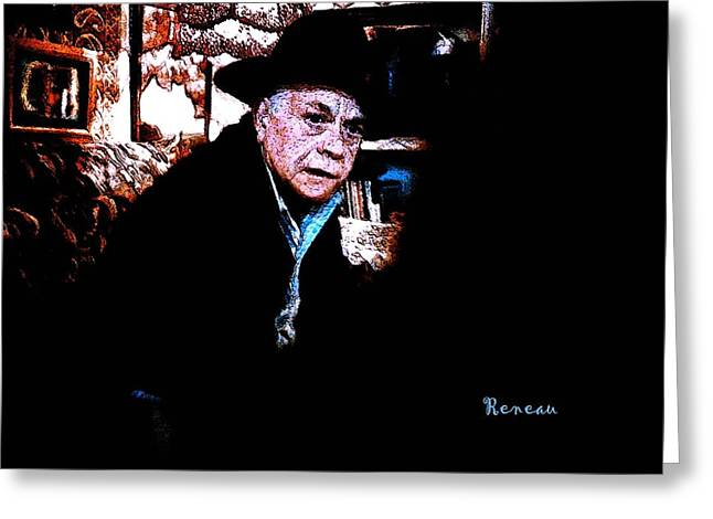 Old Man With Hat Greeting Cards - Grumpy Old Man Greeting Card by Sadie Reneau