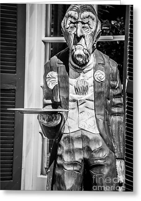 Old West Photography.america Photography Greeting Cards - Grumpy Old Waiter Carving Key West - Black and White Greeting Card by Ian Monk