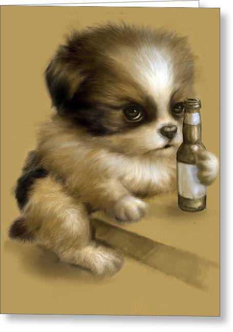Puppies Digital Art Greeting Cards - Grumpy Puppy Needs a Beer Greeting Card by Vanessa Bates