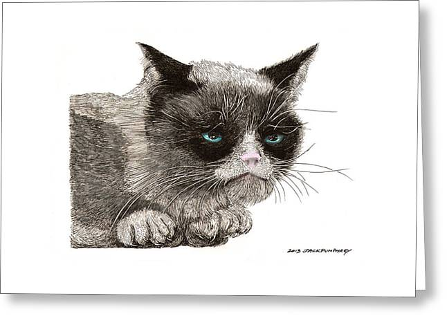 Pen And Ink Drawing Greeting Cards - Grumpy Pussy Cat Greeting Card by Jack Pumphrey