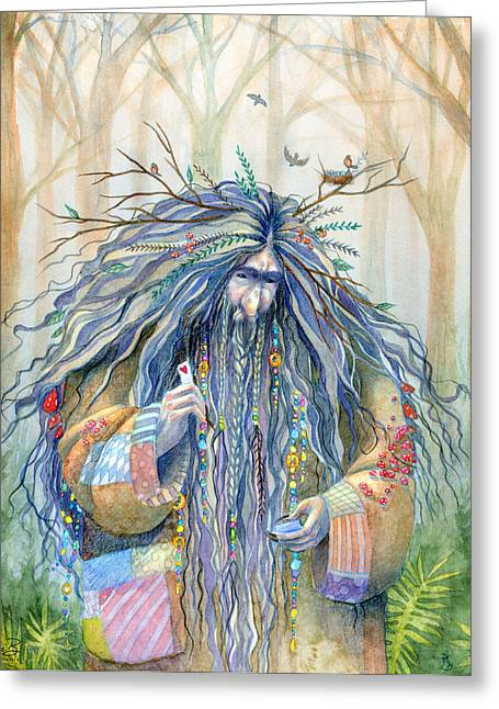 Watercolor Fairytale Greeting Cards - Grumpy Troll Greeting Card by Sara Burrier
