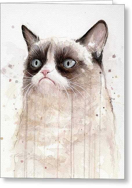 Cat Print Greeting Cards - Grumpy Watercolor Cat Greeting Card by Olga Shvartsur