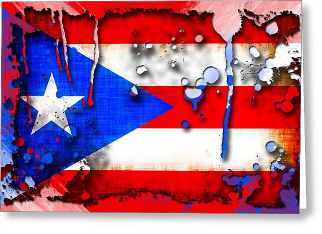 Puerto Rico Greeting Cards - Grunge and Splatter Puerto Rico Flag Greeting Card by David G Paul