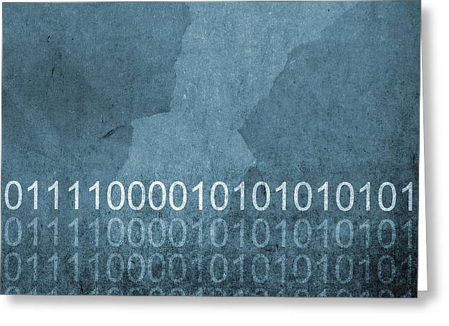 Texting Greeting Cards - Grunge Blue Binary Code Background Greeting Card by Tim Hester