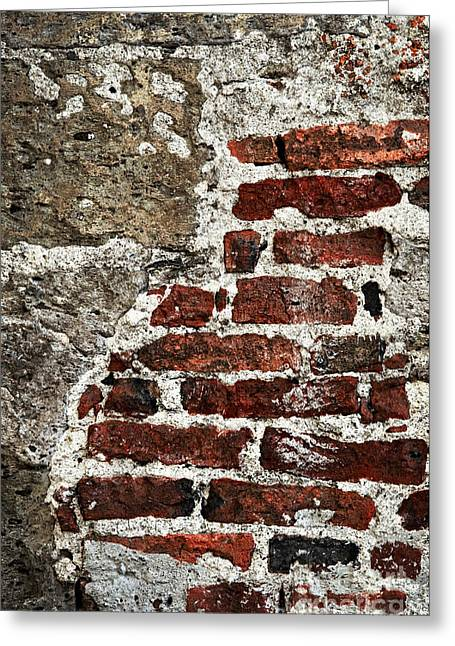 Red Wall Greeting Cards - Grunge brick wall Greeting Card by Elena Elisseeva
