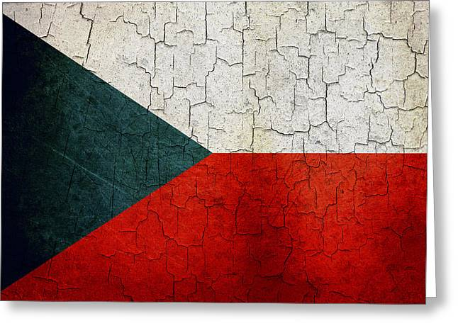 Czech Flag Greeting Cards - Grunge Czech Republic flag Greeting Card by Steve Ball