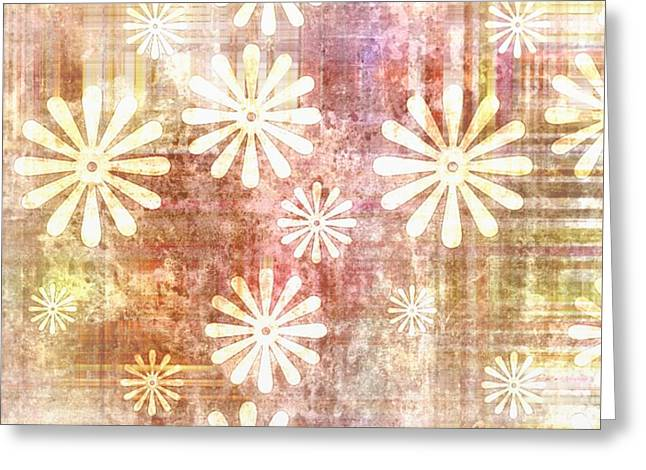 Manley Greeting Cards - Grunge Flowers Greeting Card by Gina Lee Manley