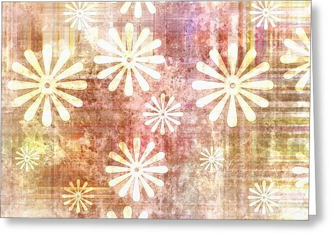 Gleem Greeting Cards - Grunge Flowers Greeting Card by Gina Lee Manley
