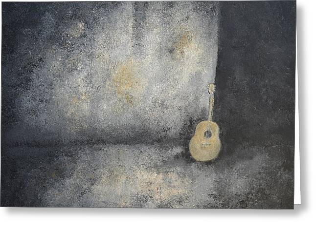 Basement Art Paintings Greeting Cards - Grunge Guitar Greeting Card by Sara Gardner