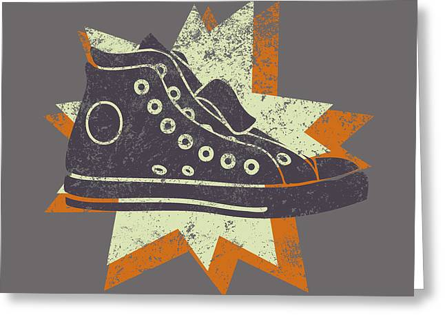 Hightop Greeting Cards - Grunge High Top Sneakers Greeting Card by Flo Karp