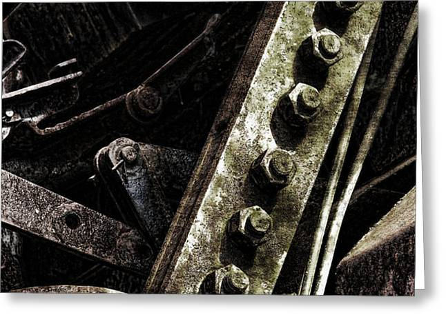Grunge Industrial Machinery Greeting Card by Olivier Le Queinec