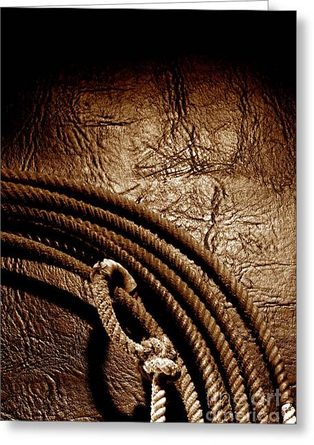 Rodeo Photographs Greeting Cards - Grunge Lasso Greeting Card by Olivier Le Queinec