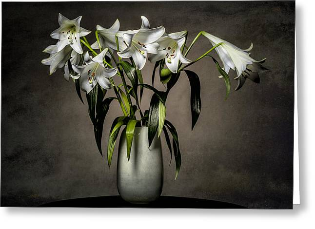 Bud Greeting Cards - Grunge Lilies Greeting Card by Erik Brede