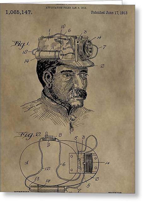 Collar Digital Art Greeting Cards - Grunge Miners Lamp Patent Greeting Card by Dan Sproul