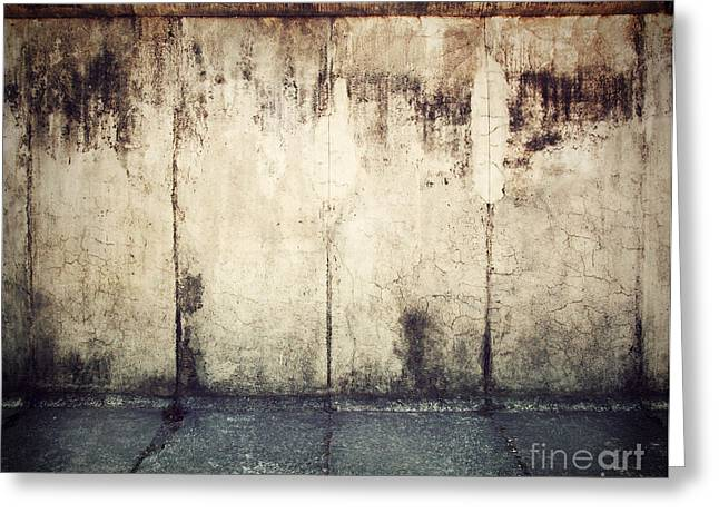 Berlin Wall Greeting Cards - Grunge rusty concrete wall background Greeting Card by Michal Bednarek