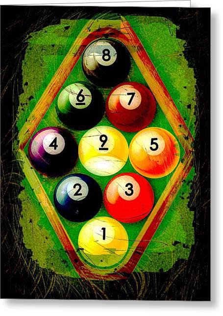 Nine Greeting Cards - Grunge Style 9 Ball Rack Greeting Card by David G Paul