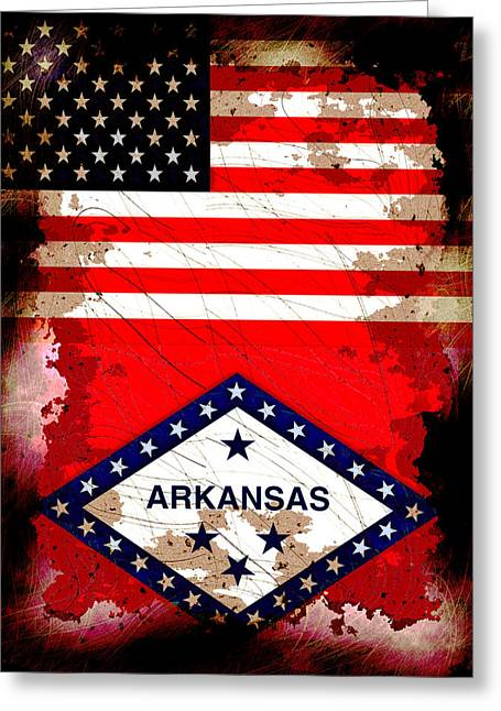 Arkansas Digital Greeting Cards - Grunge Style USA and Arkansas Flags Greeting Card by David G Paul