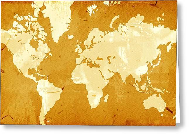 Grunge Style World Map Greeting Card by Modern Art Prints