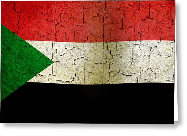 Sudan Red Greeting Cards - Grunge Sudan flag Greeting Card by Steve Ball