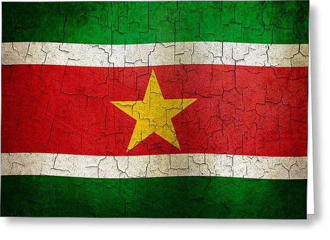 Grunge Suriname Flag Greeting Card by Steve Ball