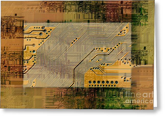 Component Digital Art Greeting Cards - Grunge Technology Background Greeting Card by Michal Boubin