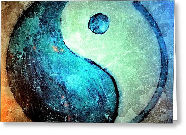 Ying Greeting Cards - Grunge Yin Yang Water Is Precious Greeting Card by Danielle  Parent