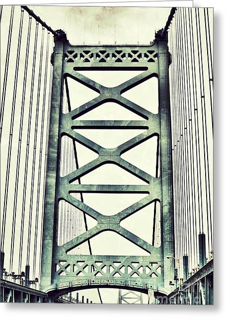 Ben Franklin Bridge Greeting Cards - Grungy Ben Greeting Card by Brandi Fitzgerald