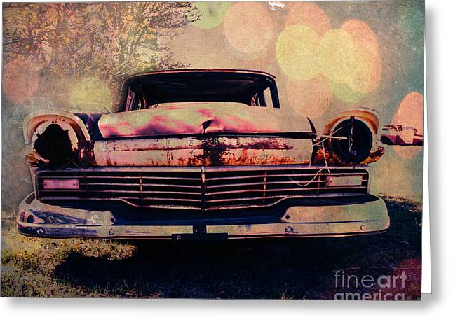 Sonja Quintero Greeting Cards - Grungy Ford in the Sun Greeting Card by Sonja Quintero