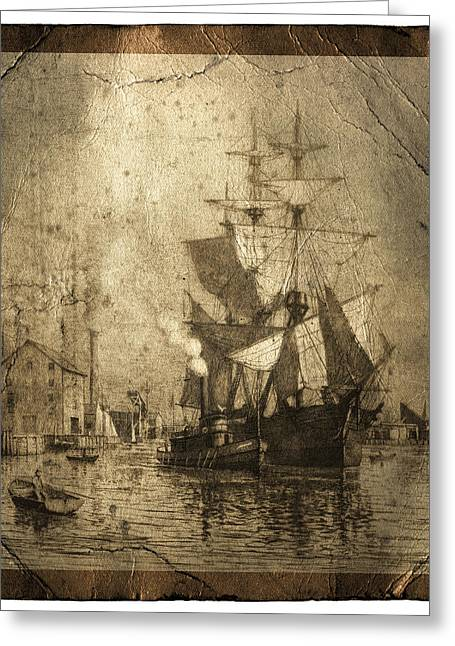 Historic Schooner Photographs Greeting Cards - Grungy Historic Seaport Schooner Greeting Card by John Stephens