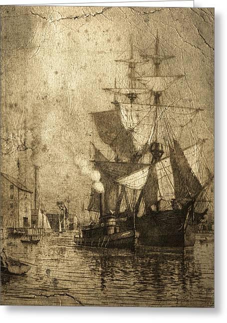 Grungy Historic Seaport Schooner Greeting Card by John Stephens