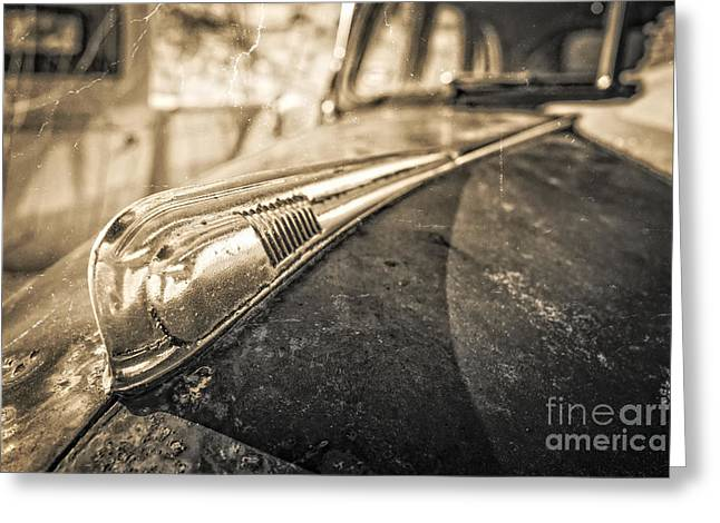 Vintage Hood Ornaments Greeting Cards - Grungy Old Car Greeting Card by Edward Fielding