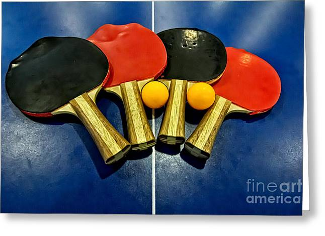 Table Tennis Racket Greeting Cards - Grungy Ping-pong Bats Table Tennis Paddles Rackets Greeting Card by Beverly Claire Kaiya