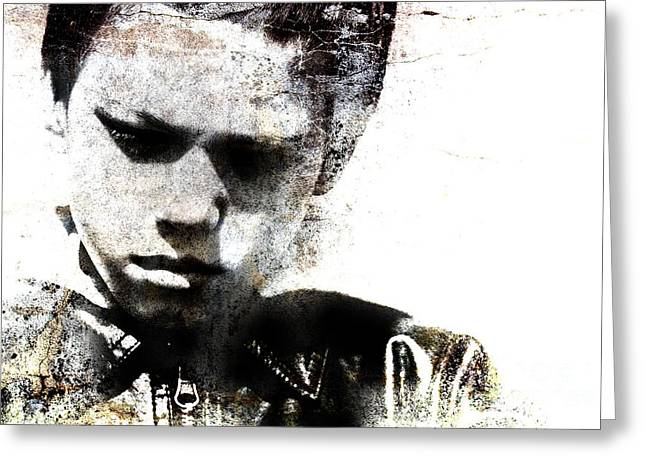 Grungy Portrait Of A Child Greeting Card by Christophe ROLLAND