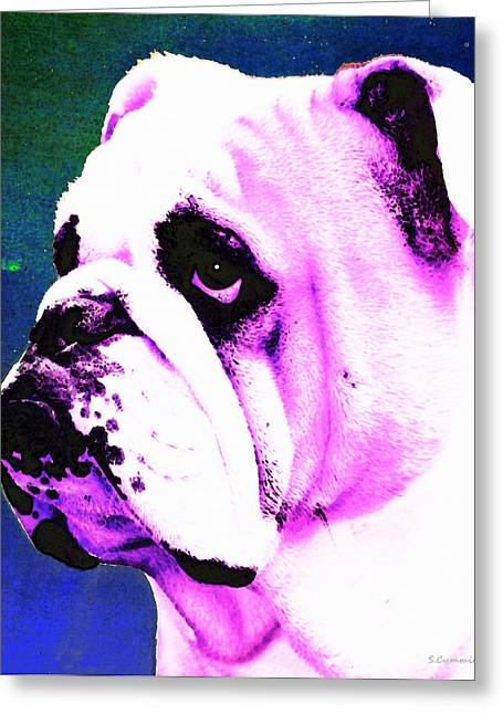 Playing Cards Mixed Media Greeting Cards - Grunt - Bulldog Pop Art By Sharon Cummings Greeting Card by Sharon Cummings