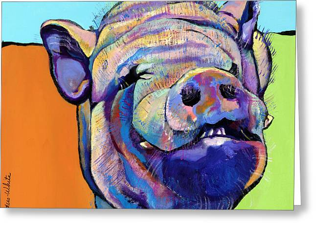 Animal Portraits Greeting Cards - Grunt    Greeting Card by Pat Saunders-White