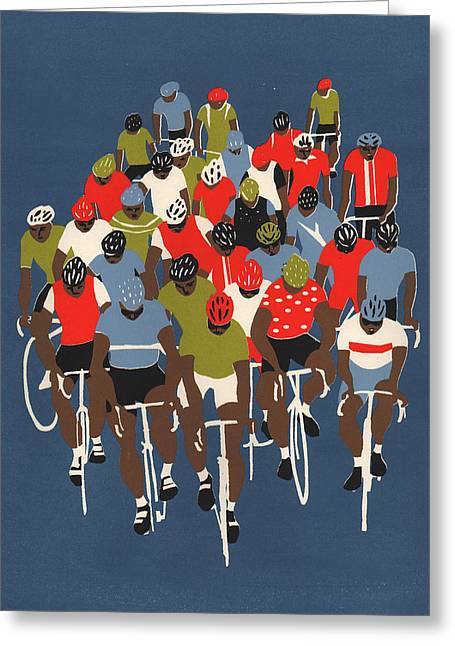 Bike Race Greeting Cards - Gruppetto Greeting Card by Eliza Southwood