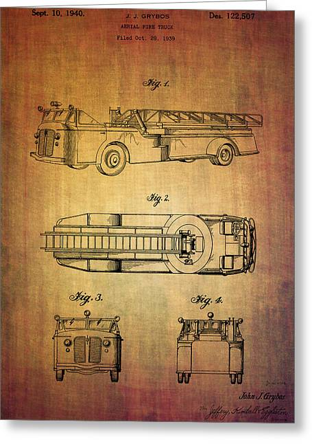 Response Mixed Media Greeting Cards - Grybos fire truck patent from 1940 Greeting Card by Eti Reid