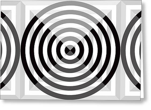 Targeted Greeting Cards - GS Circles Panoramic Greeting Card by Mike McGlothlen