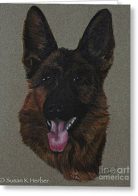 Breed Study Pastels Greeting Cards - Gsd Greeting Card by Susan Herber
