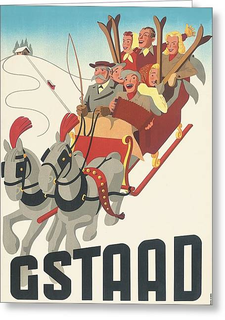 Skiing Poster Greeting Cards - Gstaad Greeting Card by Nomad Art And  Design