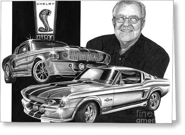 Carroll Shelby Drawings Greeting Cards - GT 500c Greeting Card by Peter Piatt