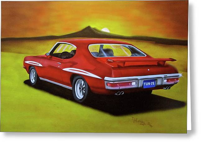 The Tiger Mixed Media Greeting Cards - Gto 1971 Greeting Card by Thomas J Herring