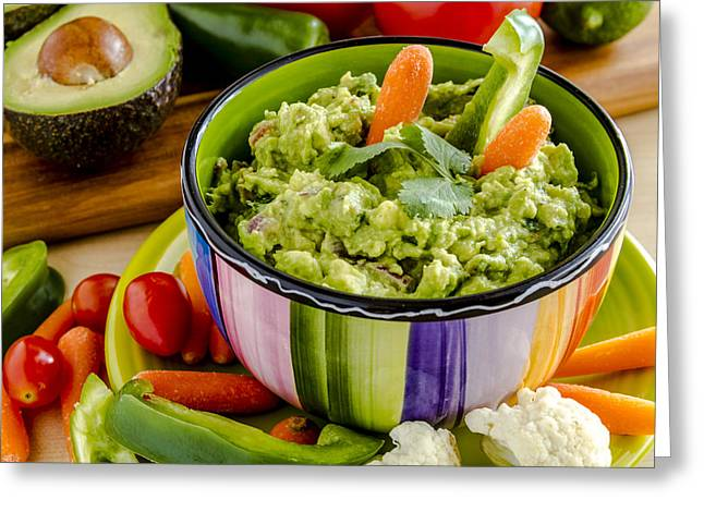 Avocado Leaves Greeting Cards - Guacamole and Veggies Greeting Card by Teri Virbickis