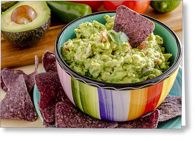 Avocado Leaves Greeting Cards - Guacamole Party Greeting Card by Teri Virbickis