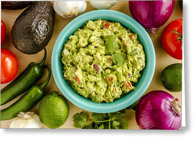 Avocado Leaves Greeting Cards - Guacamole Time Greeting Card by Teri Virbickis