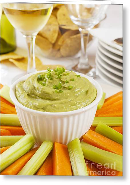 Avocados Greeting Cards - Guacamole with Carrot and Celery Sticks Greeting Card by Colin and Linda McKie