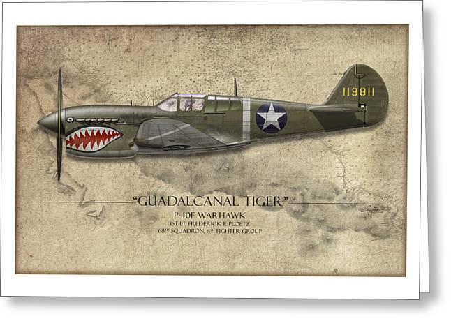 Red Tiger Greeting Cards - Guadalcanal Tiger P-40 Warhawk - Map Background Greeting Card by Craig Tinder