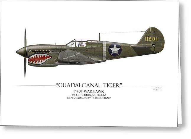 E Black Greeting Cards - Guadalcanal Tiger P-40 Warhawk - White Background Greeting Card by Craig Tinder