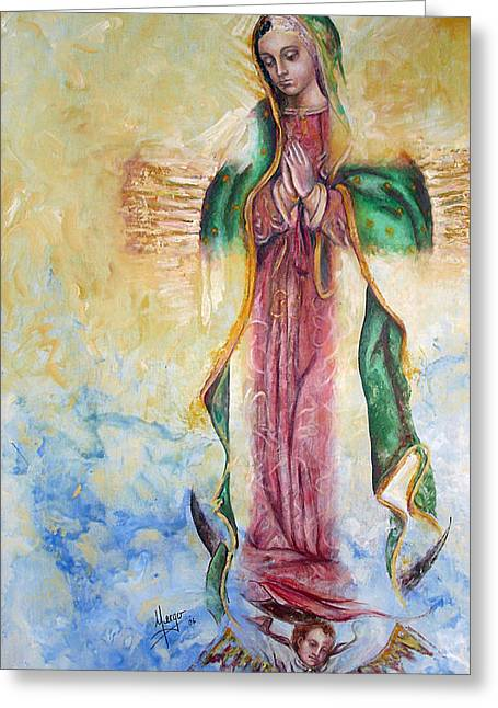 Devotion Greeting Cards - Guadalupana Greeting Card by Karina Llergo Salto