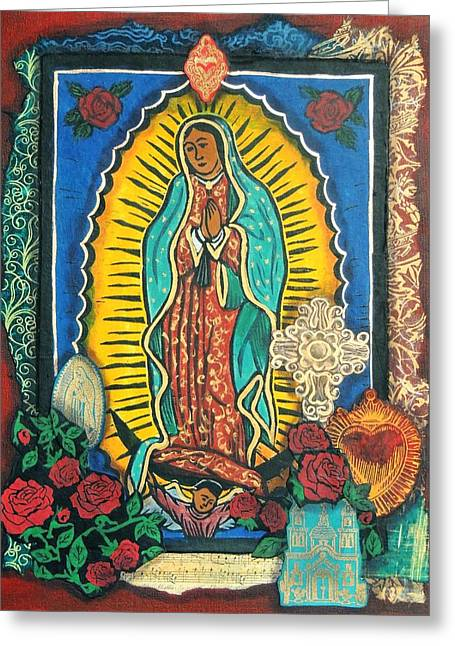 Retablos Greeting Cards - Guadalupe Collage in Red Greeting Card by Candy Mayer
